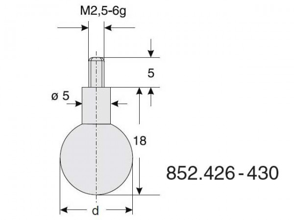 Ball radius probe Ø 7,0/18