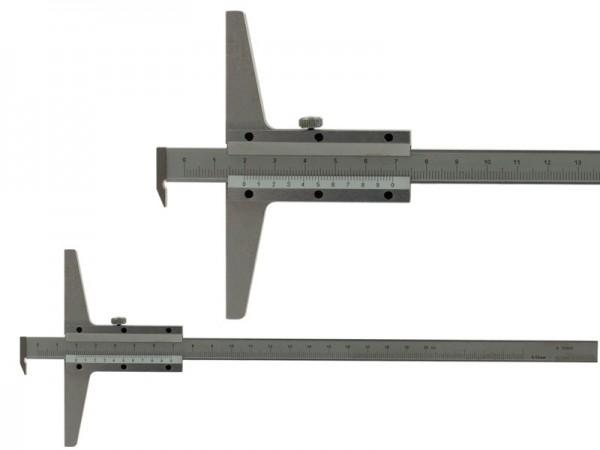 Analog depth gauge with hook 0-200/100/0,02 mm
