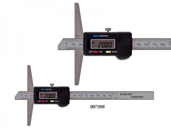 Digital depth caliper, beveled nose 0-200/0,01 mm