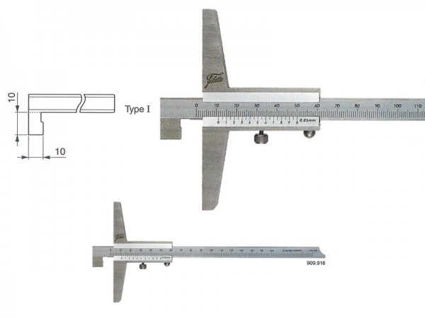 Depth gauge with hook 0-200/100/0,05 mm/type I