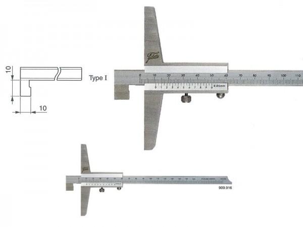 Depth gauge with hook 0-300/100/0,05 mm/type I