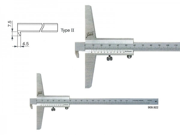 Depth gauge with hook 0-150/100/0,05 mm/type II
