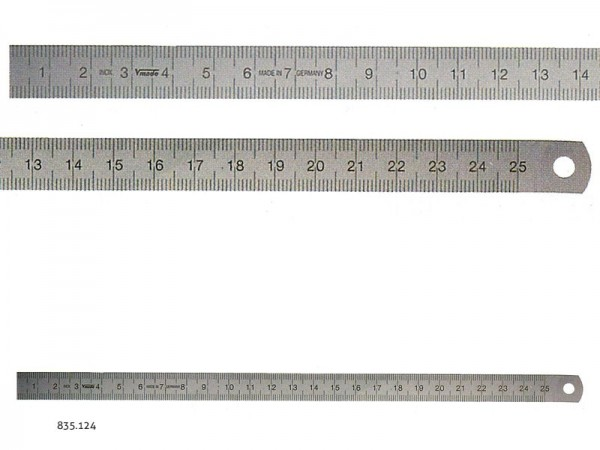 Stainless steel rulers EC class II L-R 200x13x0,5 mm