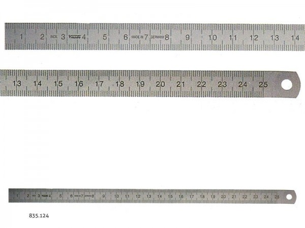 Stainless steel rulers EC class II L-R 2500x18x0,5 mm