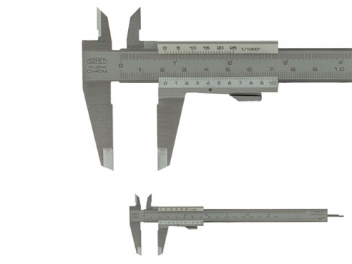 Analog Caliper SOMET 160/0,05, round depth rod ∅ =1,6mm, spring release