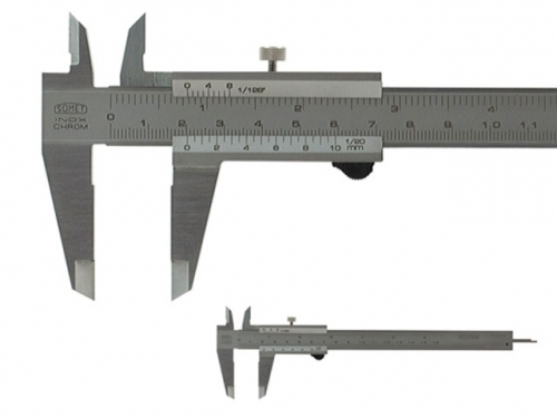 Analog Caliper SOMET 160/0,05 locking screw, round flat rod ∅ 1,6 mm