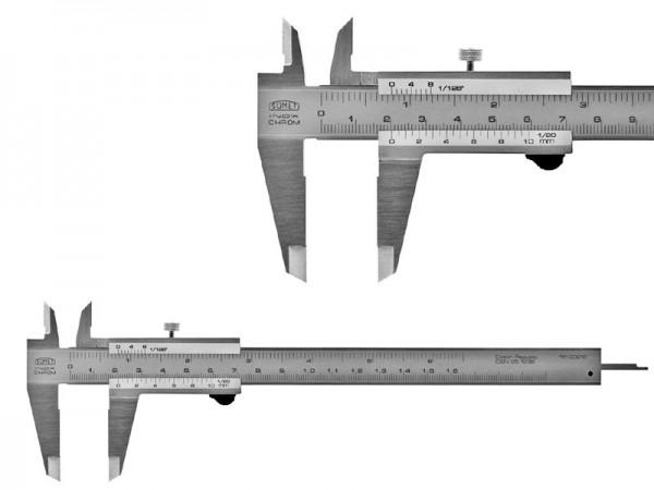 Analog Caliper SOMET 200/0,05 spring release, flat depth rod