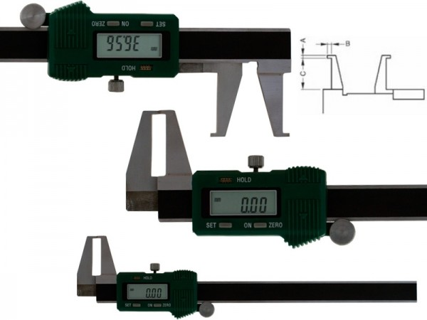Digital caliper with outside angled measuring pins 8-150