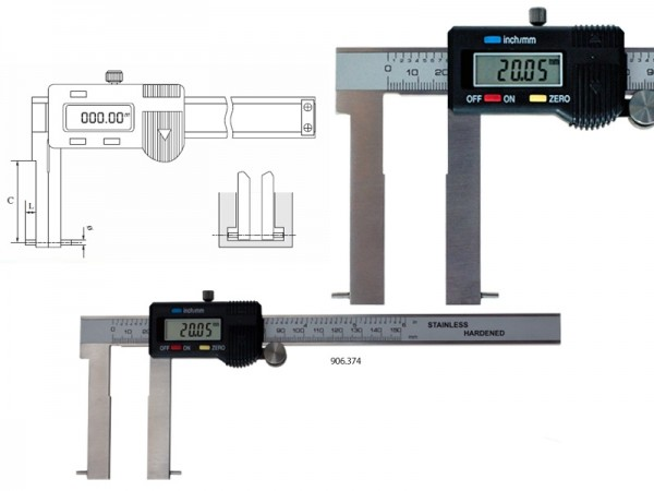 Digital caliper with outside angled measuring pins 35-150