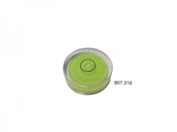 Circular spirit level with yellow and green base Ø 12 mm