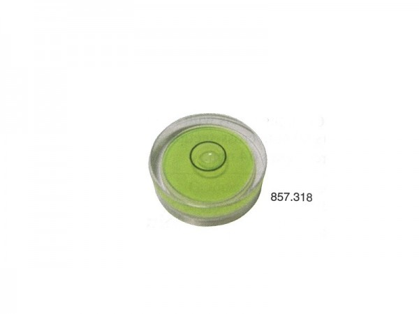Circular spirit level with yellow and green base Ø 18 mm