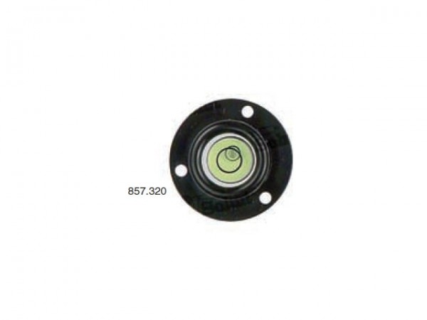 Circular spirit level Black with frame and screw holes Ø 26 mm
