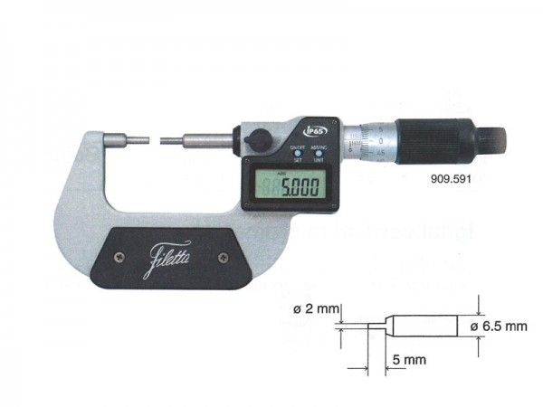 Micrometer with small measuring faces 0-25 mm