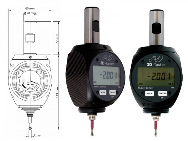 3D centering digital probe 2/0,001 mm