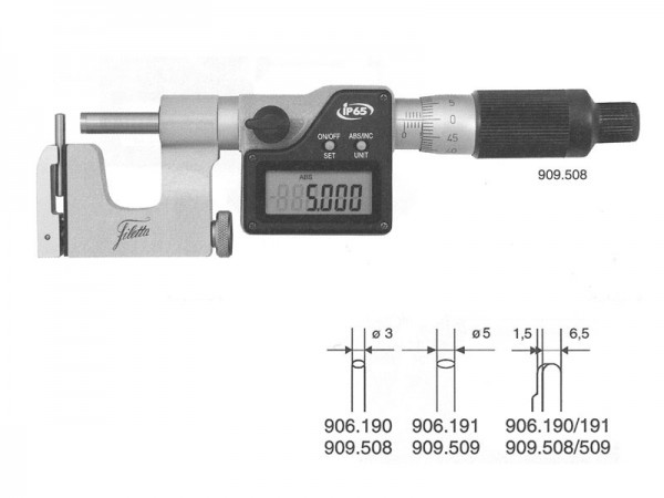 Universal micrometer with interchangeable anvils 0-25 mm