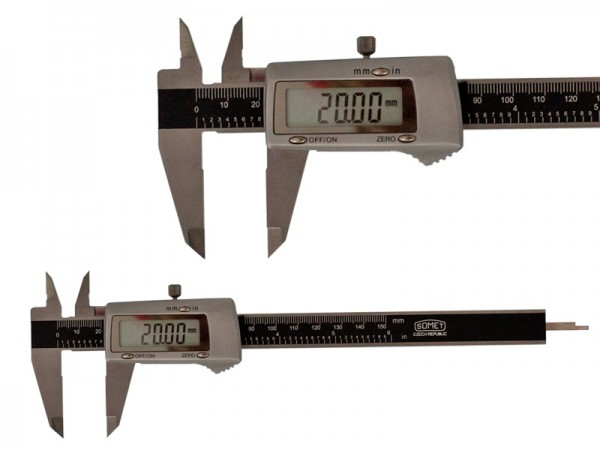 Digital caliper All-metal 0-150/0,01 mm Large display