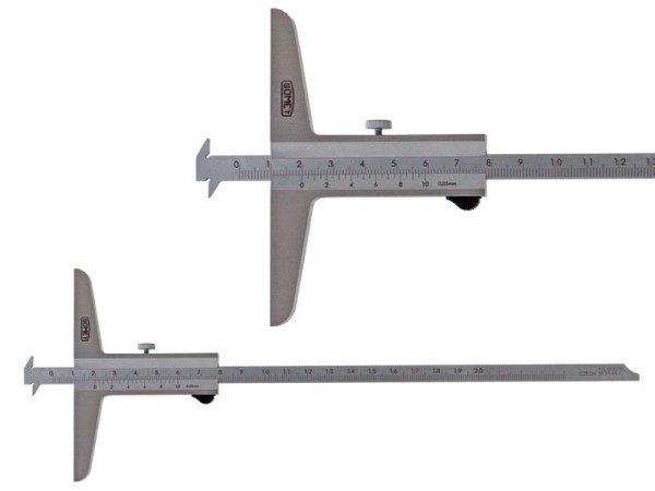 Depth gauge with two hooks and with bevel, SOMET, 0-300/0,05mm
