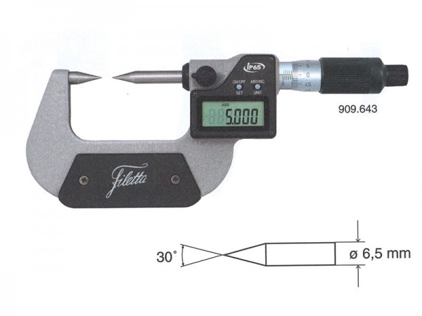 Micrometers with pointed measuring faces IP65 0-25 mm