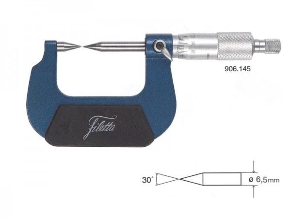 Třmenový mikrometr analogový špičaté měřící doteky 30° 0-25 mm