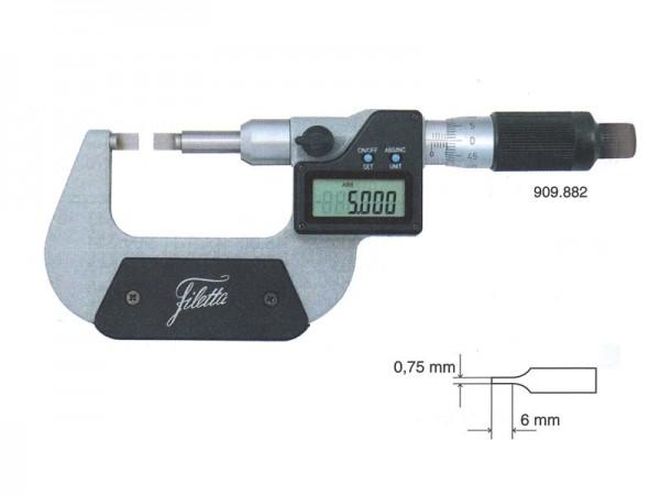 Digital Micrometer with lamellar measuring faces 0-25 mm
