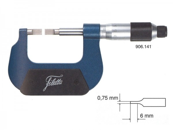 Micrometer with lamellar measuring faces 0-25 mm