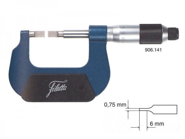 Třmenový mikrometr analogový s destičkovými měřícími doteky 0-25 mm