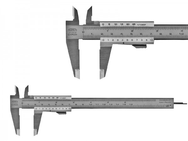 Analog Caliper SOMET 160/0,05 spring release, flat depth rod