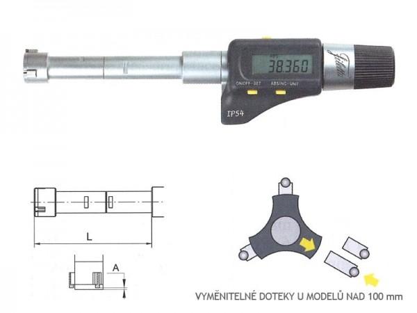 Digitální tříbodový dutinový mikrometr 200-225 mm