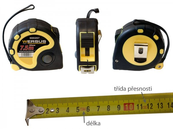 Tape measure 7,5 m/19 Rubber case