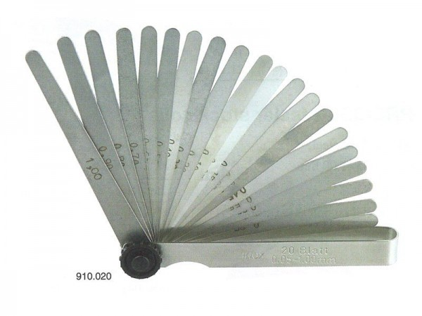 Měrky spárové mosazné 20 listů 0,05-1,0 mm