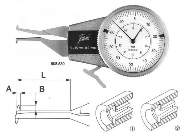 Analogový mikrometr pro měření vnitřních zápichů 10-30/R 1,5 mm