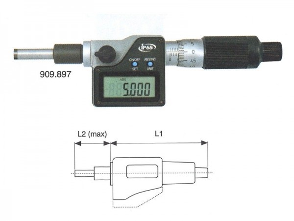 Digital micrometer head IP65 0-50 mm spherical