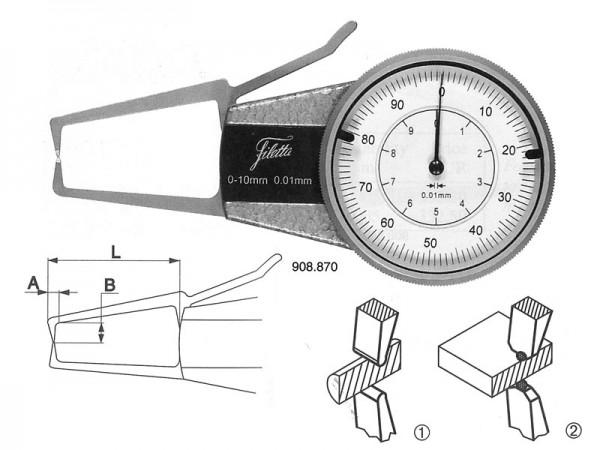 Analog. mikrometr pro měření vnějších zápichů 0-10/R 0,5 mm