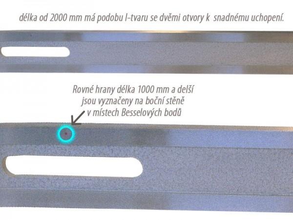 Pravítko z nerez oceli 2000x70x15 mm 874/1