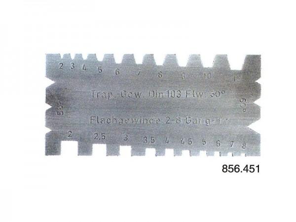 Pravoúhlá a lichoběžníková šablona závitů trapézový  30° , úhlový 55 ° a 60°