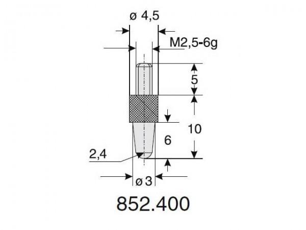 Výměnný dotek kulový tvar Ø 2.4/10
