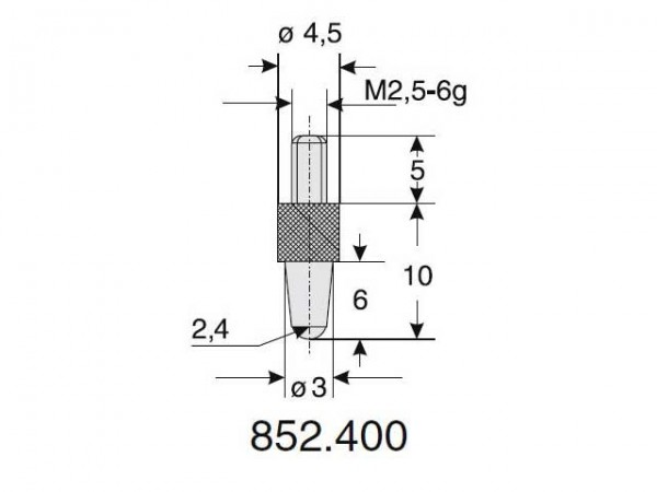 Ball radius probe Ø 2.4/10