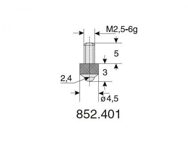 Výměnný dotek kulový tvar Ø 2.4/3