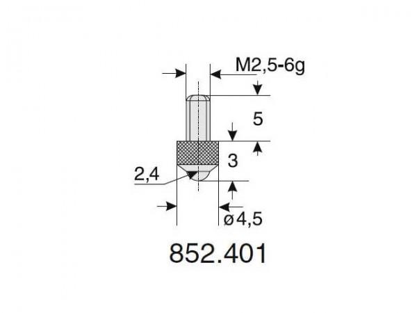 Ball radius probe Ø 2.4/3
