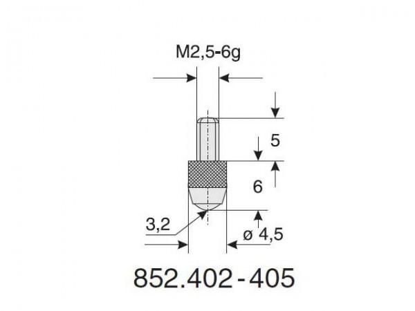 Výměnný dotek kulový tvar Ø 3,2/6 R
