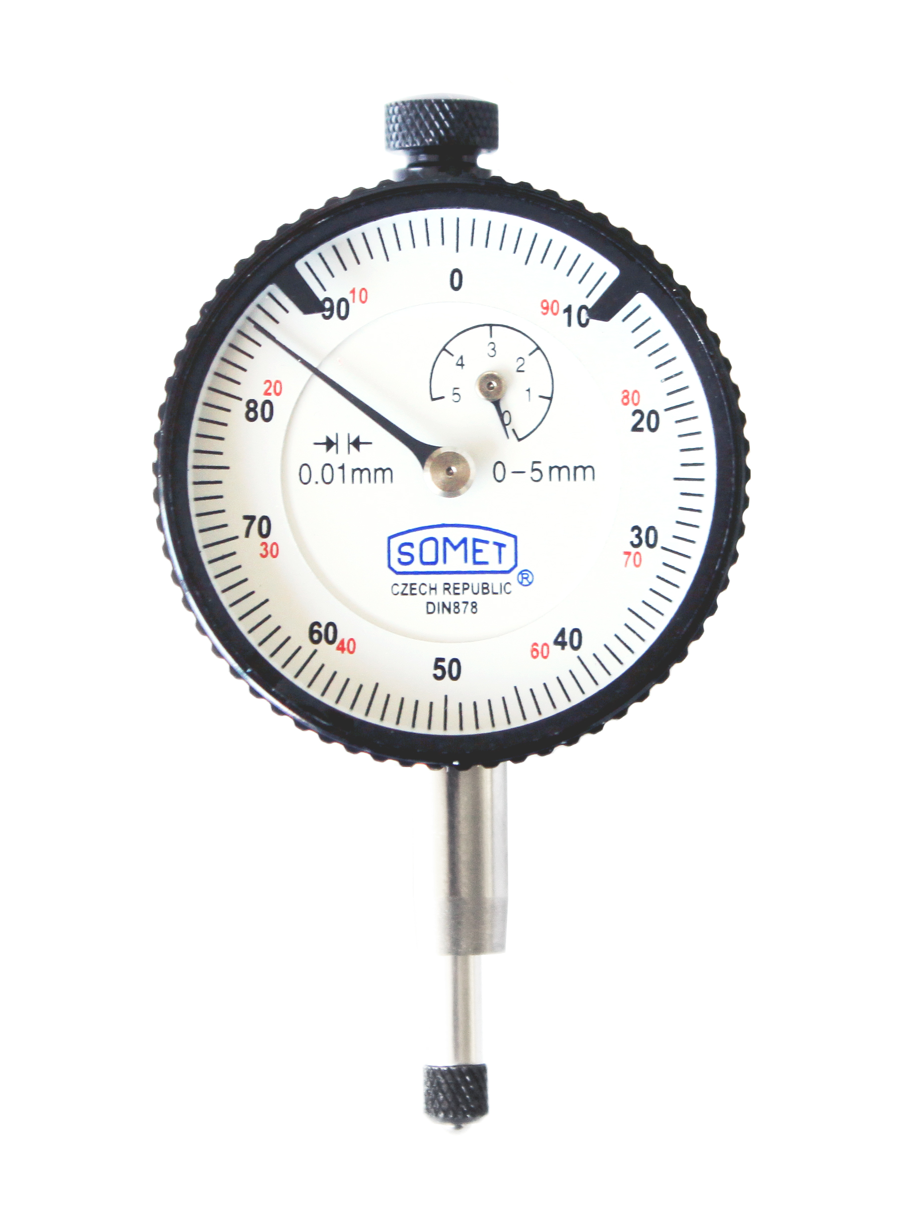 Dial indicator white 40/5x0,01 mm