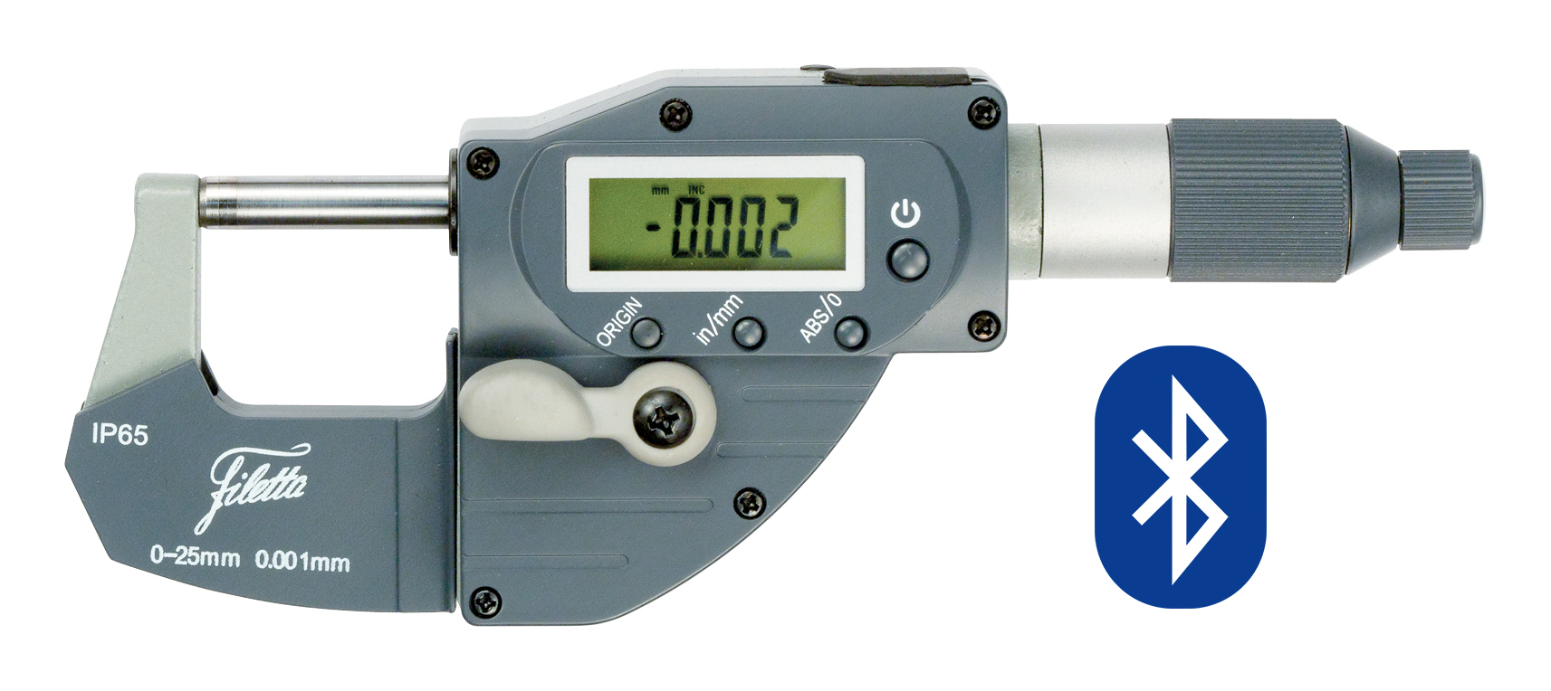 Digital fast adjustable external micrometer with BLUETOOTH IP65 0-25/0,001 mm