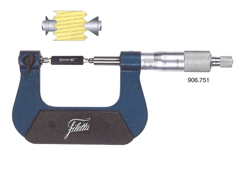 Screw thread micrometer without inserts 0-25/0,4-5 mm