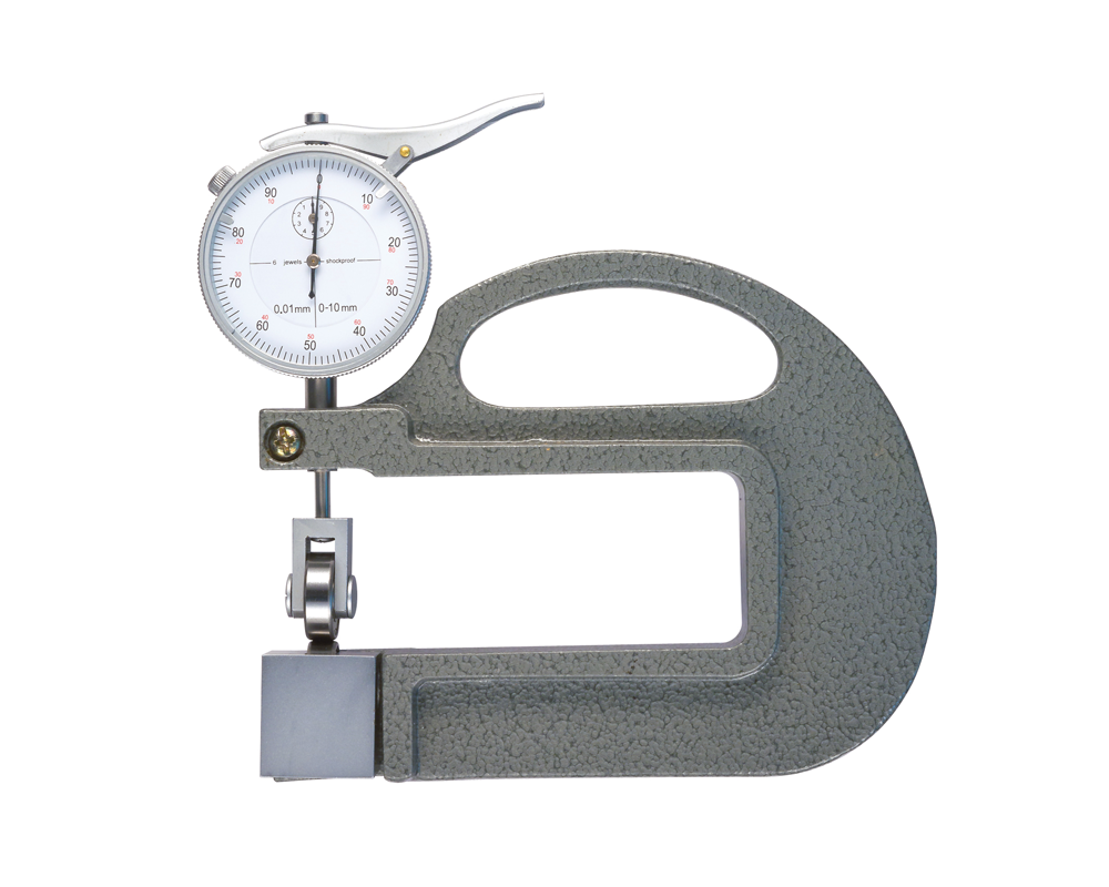 Thickness gauge with roller measuring inserts 0-10 mm/ 0,01 mm