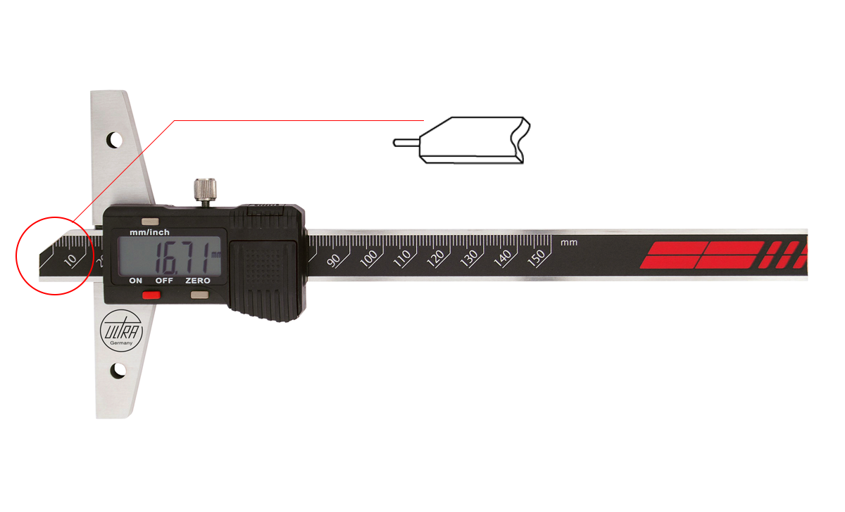 "ULTRA depth caliper 0-150 mm/ 0,01 mm (6""/0,005"") hardened steel pin"