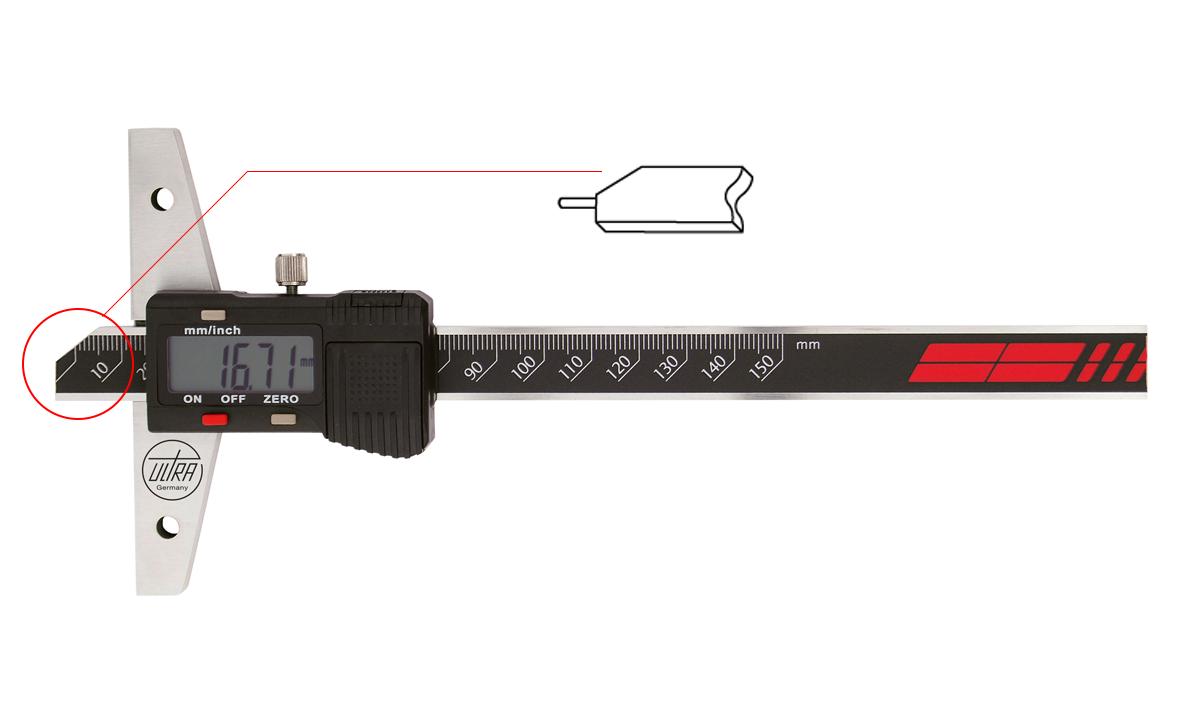 """ULTRA digitální hloubkoměr 0-300 mm/ 0,01 mm (12""""/0,005"""") kalená ocelová jehla"""