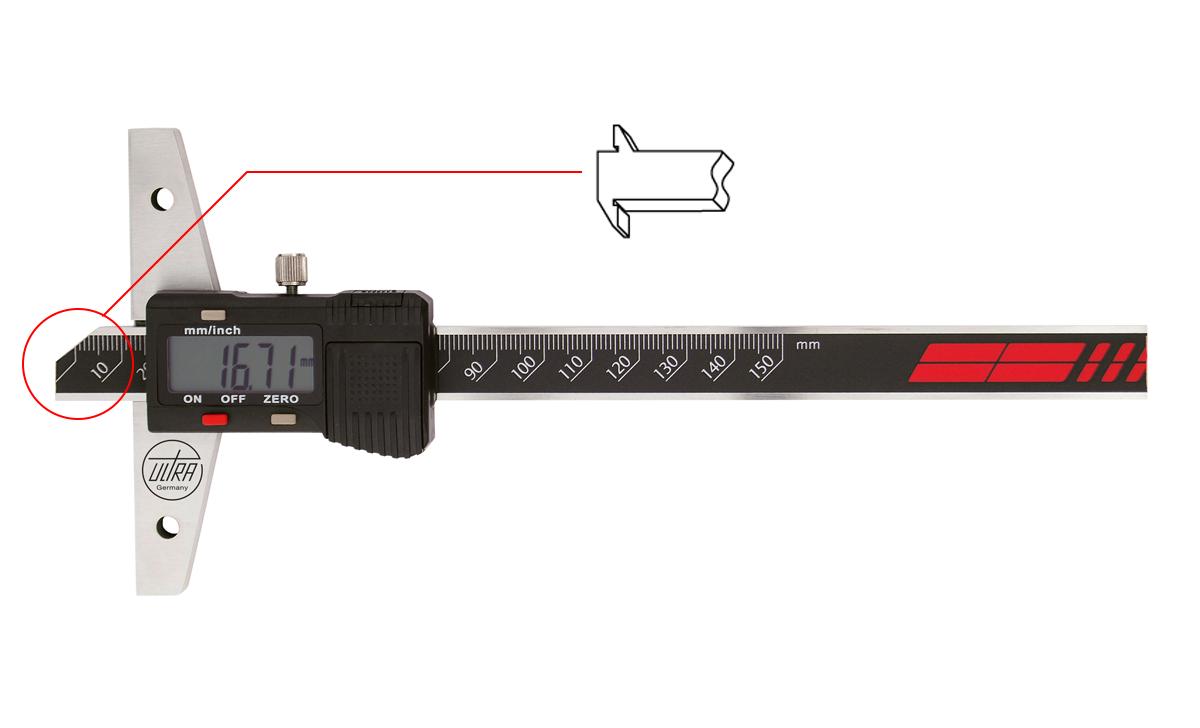 """Digitální hloubkoměr ULTRA 0-150 mm/ 0,01 mm (6""""/0,005"""") offsetové měřící plochy"""