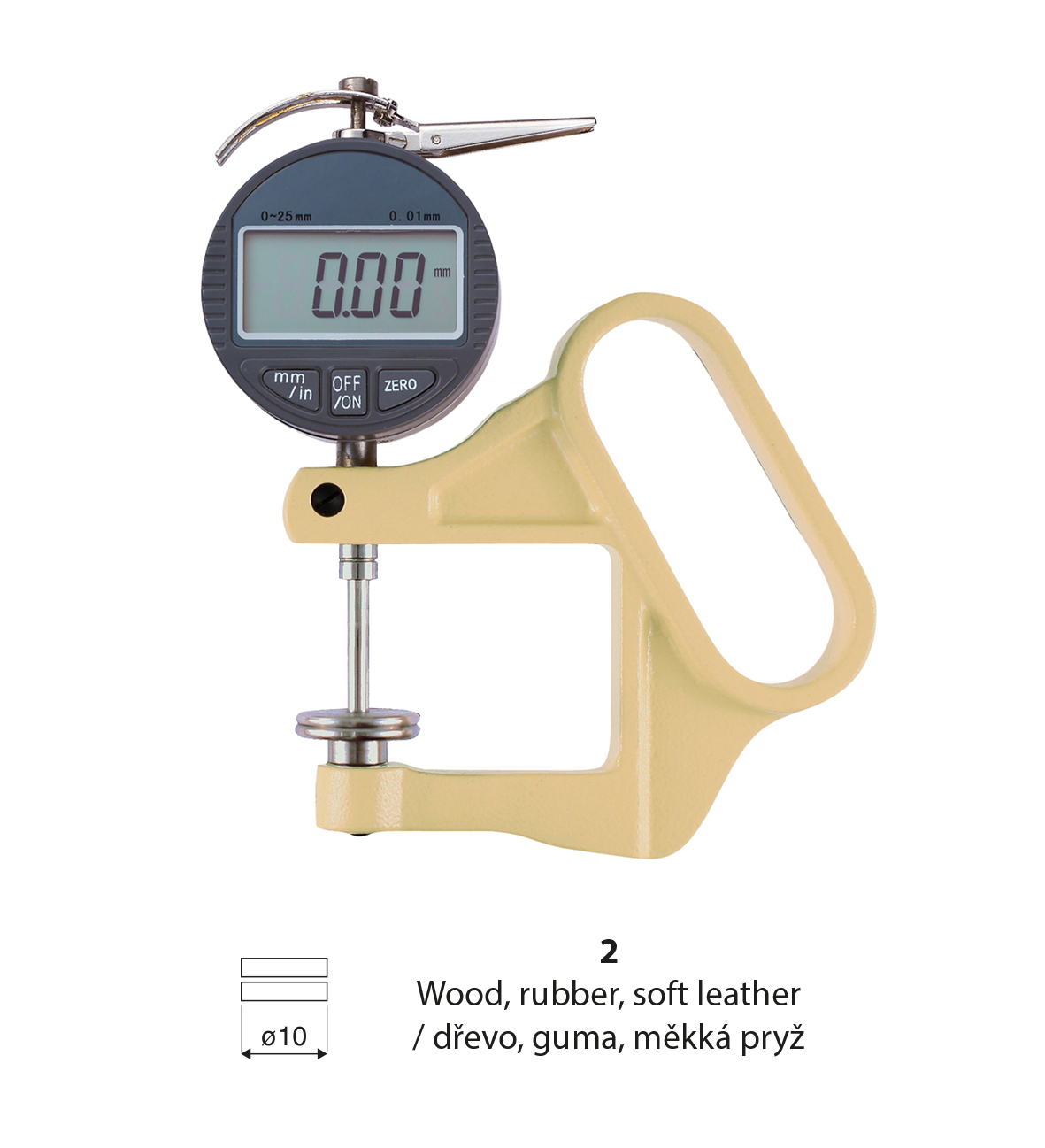 Digital thickness gauge Inserts for wood,rubber,soft leather (2) 0-25/0,01/throat depth 50 mm
