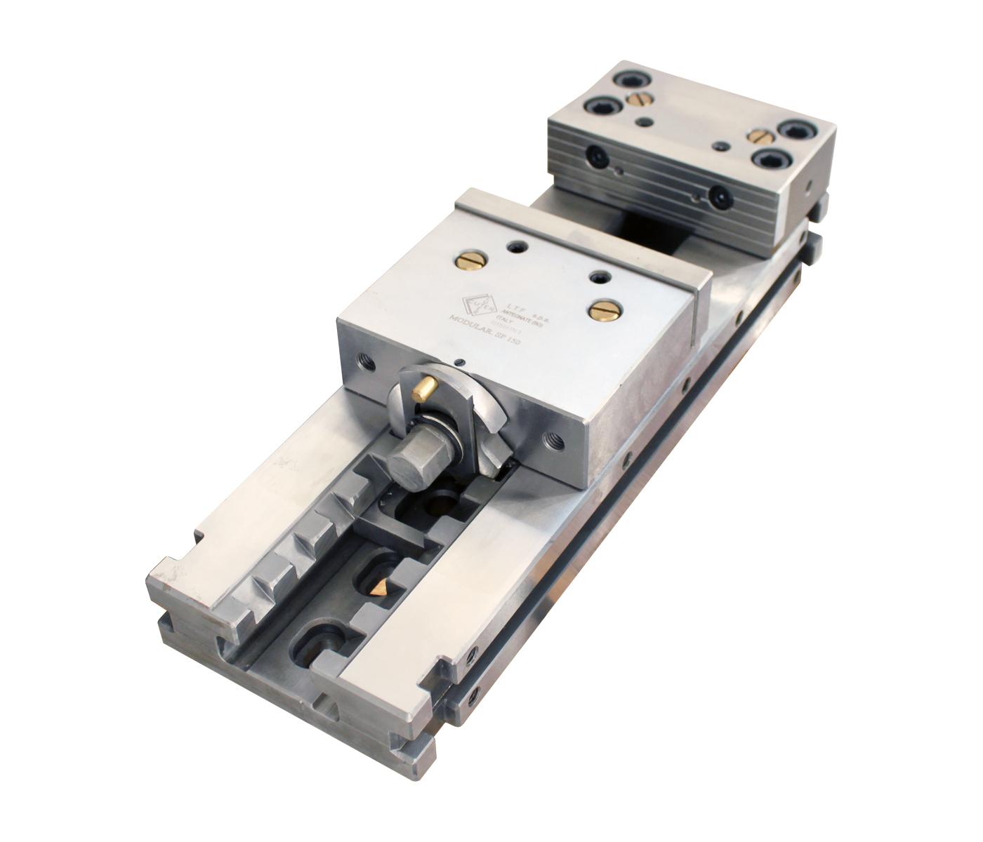 Modular vice with fixed jaws and quick-positioning hardened parallels
