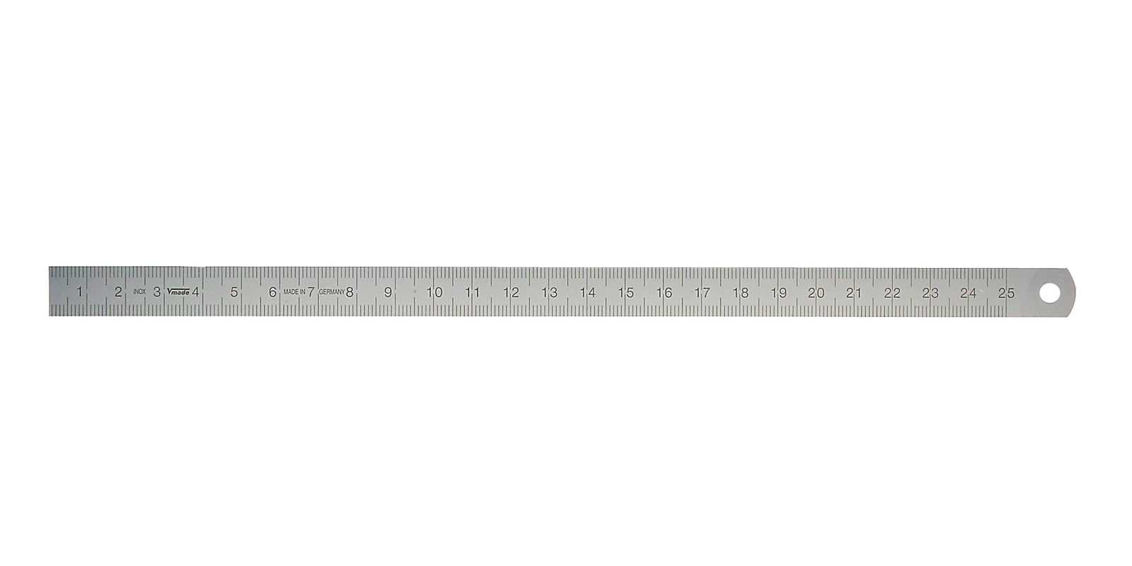 Stainless steel ruler (L → R) 250x13x0,5 / 0,5 mm